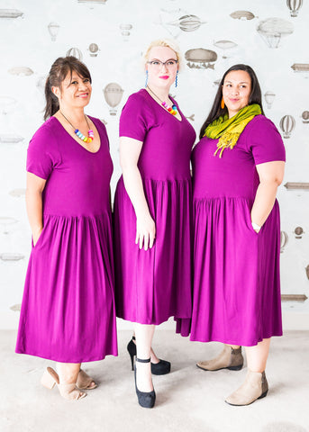 three babes in all cotton plus-size dress in purple