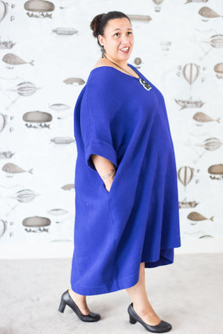 Eli in blue waffle plus-size cotton dress