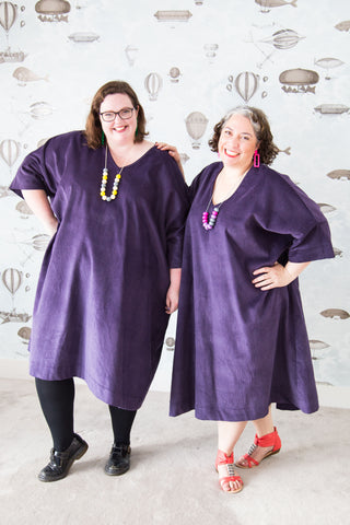 purple corduroy plus-size dress