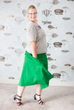 Green cotton plus-size a-line skirt with pockets