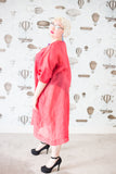 Plus-size dress in strawberry cotton/silk