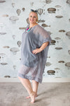 Plus-size sack dress with pockets in a cotton/silk blend