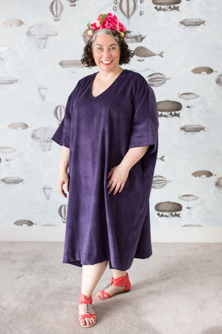 Purple corduroy plus-size sack dress