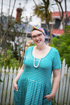 DEMELZA dress - turquoise with grey stripes