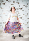 Plus-size a-line skirt in purple hexagonal pattern