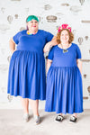 Plus-size dress in bright blue cotton