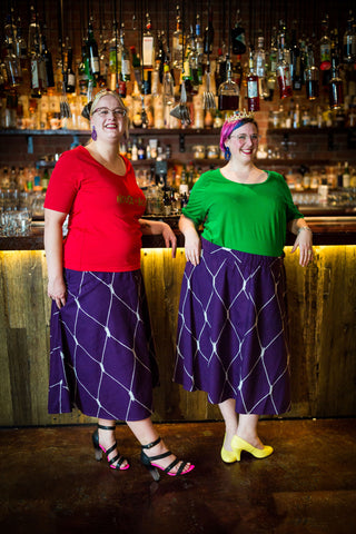 purple a-line skirts for fat babes