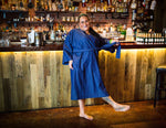 a fat babe in a dark blue cotton plus size robe