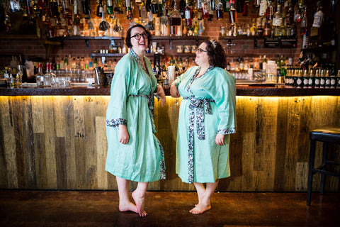 fat babes in mint green plus size linen robes