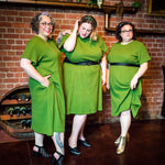 Raglan sleeve green dress worn by fat babes