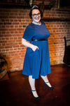 Raglan sleeve slinky blue dresses worn by fat babes