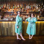 two fat babes in a plus size linen bathrobe