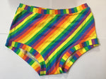 Rainbow-striped boy leg plus size briefs, cotton briefs plussize underwear