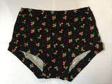 Cherry print boy-leg plus size briefs,, cotton briefs plussize underwear