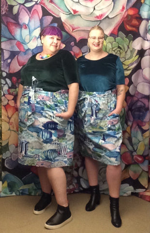 MEAGAN paper bag waist skirt - fish print