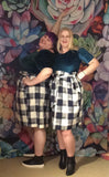 MEAGAN paper bag waist skirt - navy check