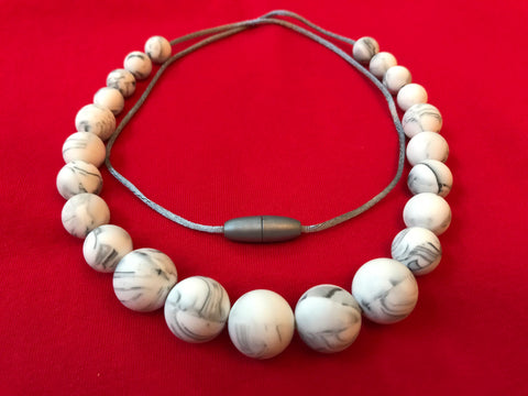Marble silicone bead necklace