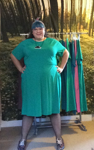 KRIS raglan sleeve dress - emerald