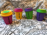 "Reusable coffee cups made in New Zealand that say ""House of Boom"" across them"