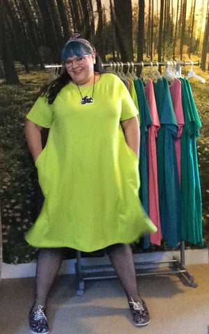 KRIS raglan sleeve dress - lime