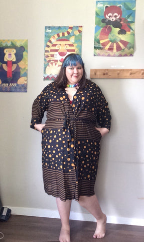 ANJI robe - black & yellow spots and stripes
