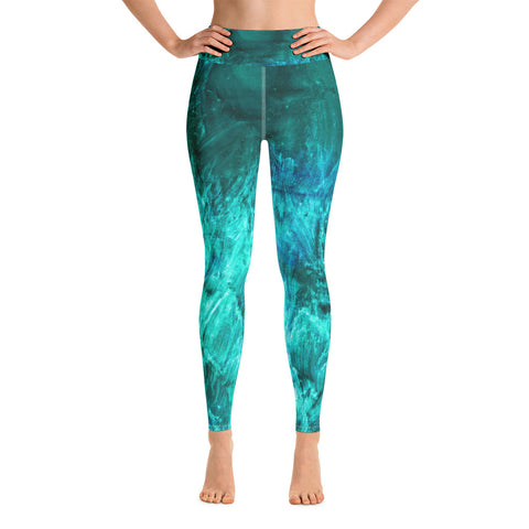 Aura print Workout Leggings - Turquoise