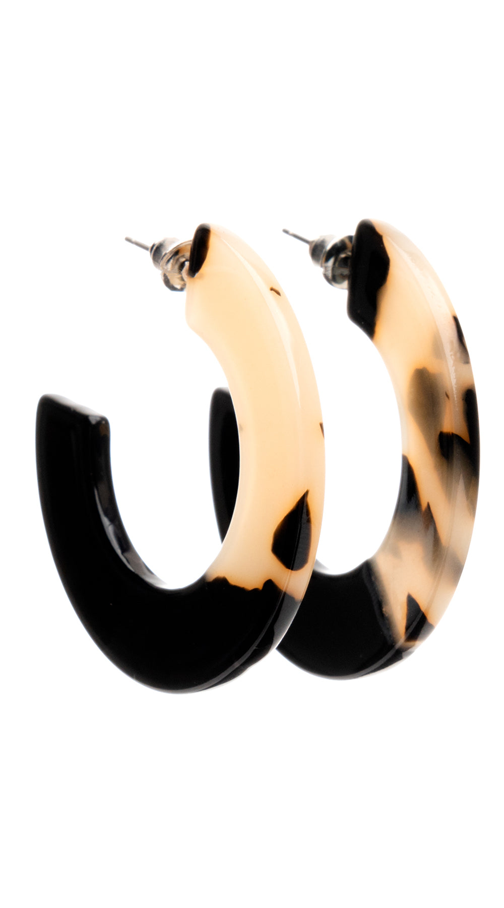 Dipped Black Tortoise Shell Hoops