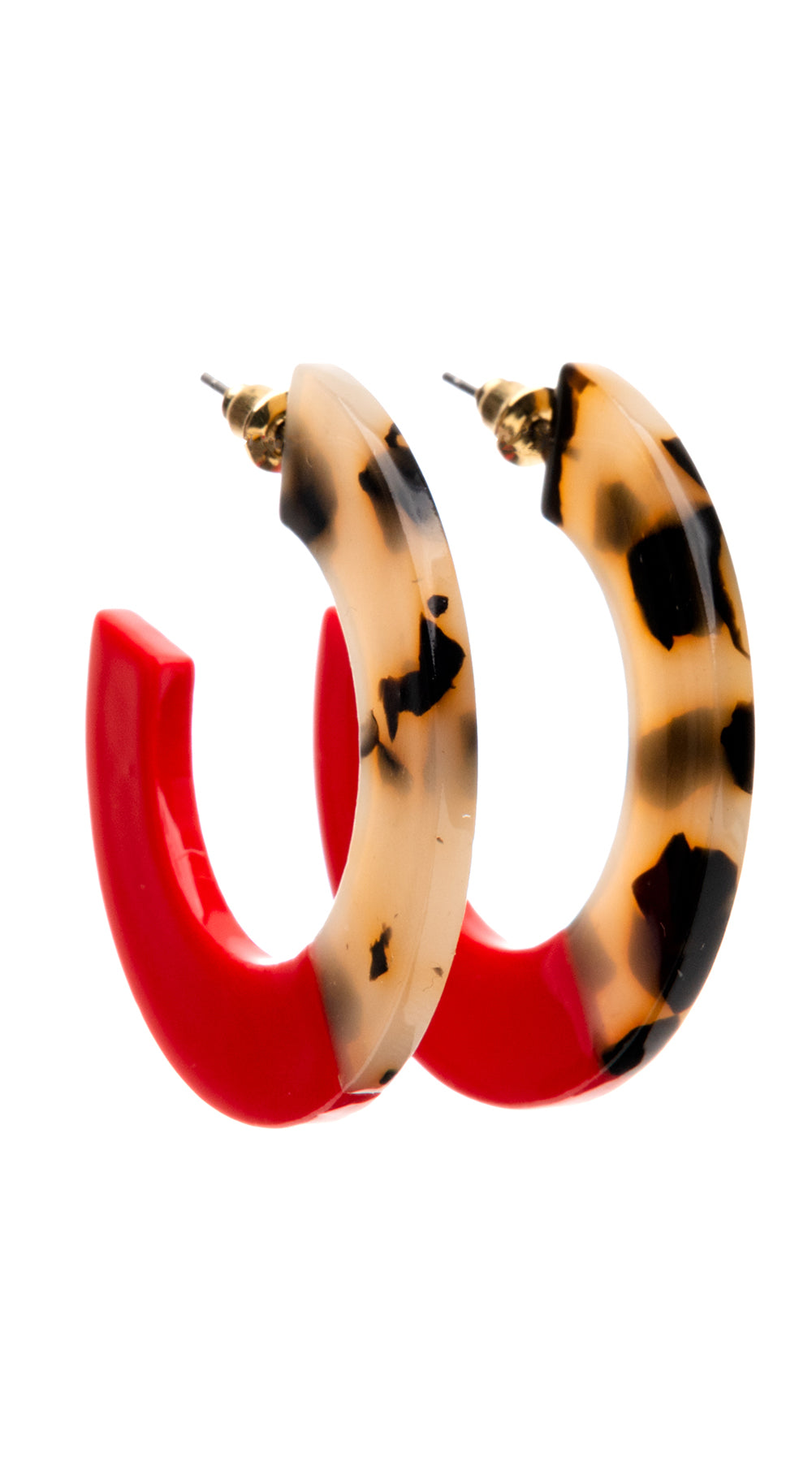 Dipped Red Tortoise Shell Hoops