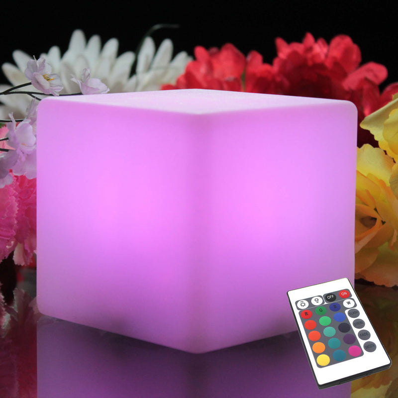 Lampe de Chevet à Pile, Veilleuse Enfant LED, Cube Multicolore 10cm