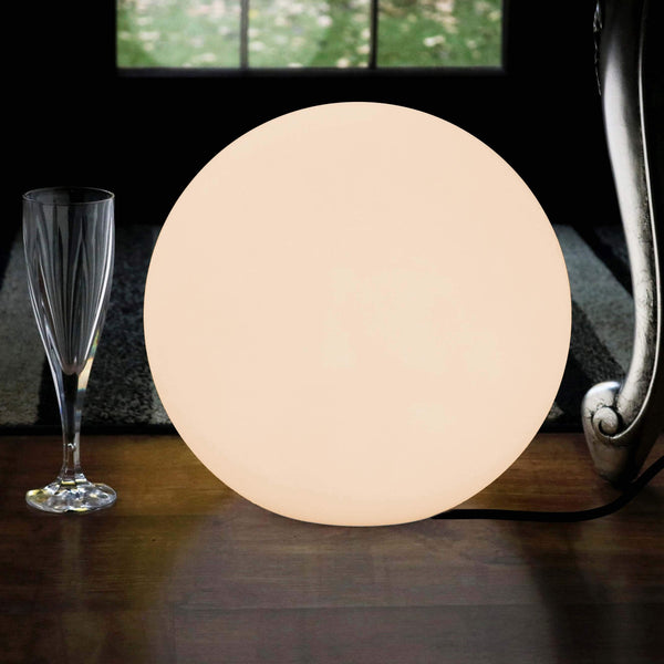 Lampe de Chevet Ronde Décorative, Boule 30cm, LED E27 Blanc Chaud