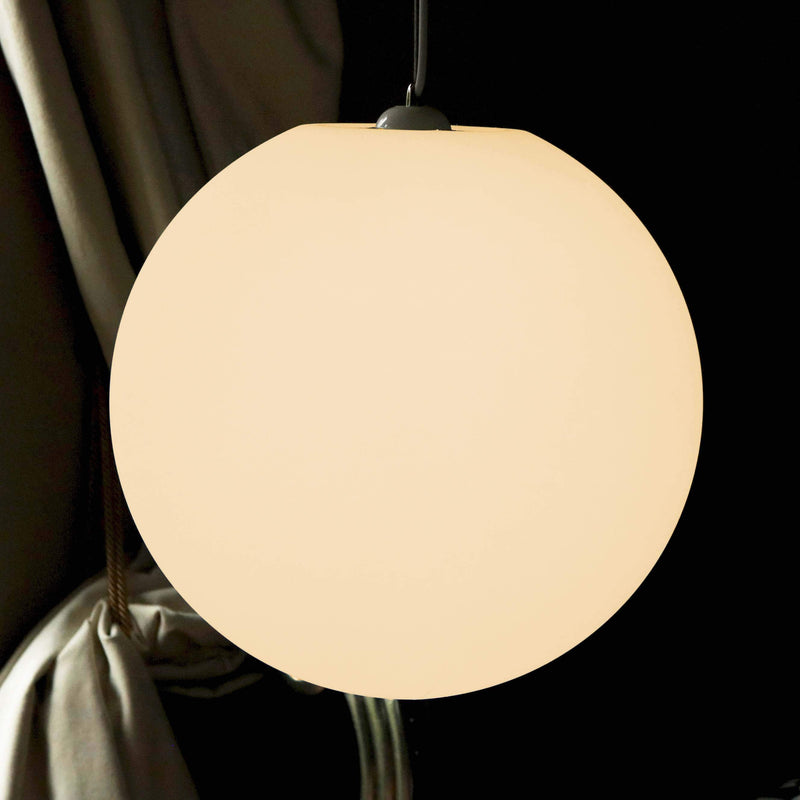 Lampe Suspension Grande, Luminaire Boule 40cm, LED E27 Blanc Chaud
