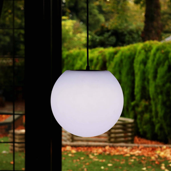 Lampe Suspension Salon, Luminaire Plafonnier, Sphère 20cm, LED Blanc