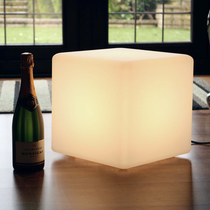 Lampe de Table Salon Chambre Moderne, Cube 30cm, LED E27 Blanc Chaud