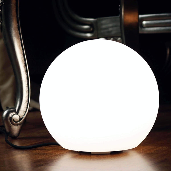 Lampe Chevet Dimmable, Luminaire Table E27, Boule LED 20cm, Blanc