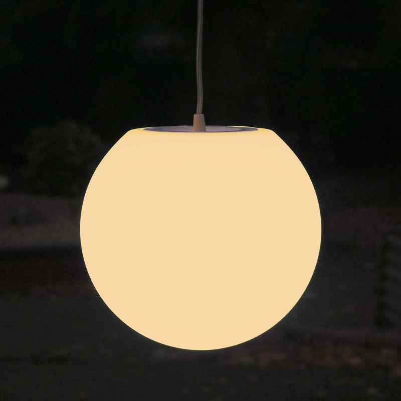 Lampe Suspension Chambre, Plafonnier Boule 25cm, LED E27 Blanc Chaud