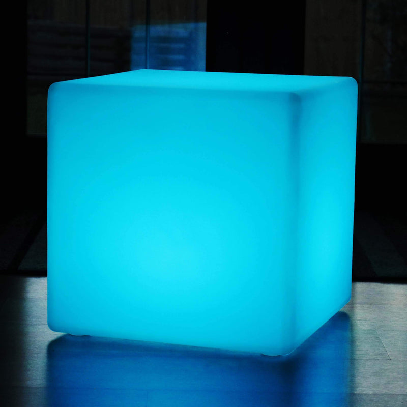 60cm Grand Cube, Tabouret Siège Meuble LED Rechargeable, Lampe Sol Multicolore RGB