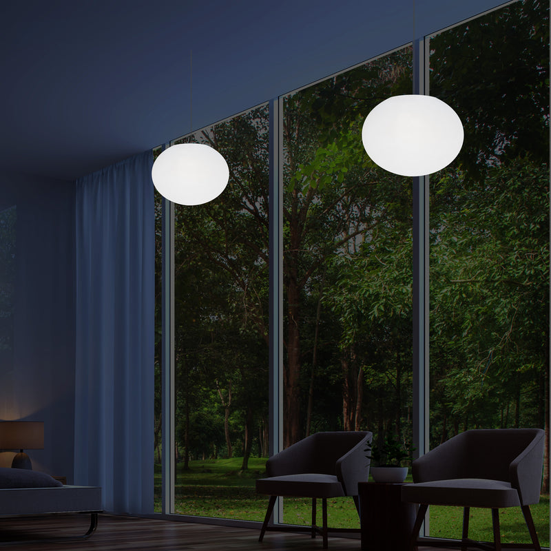 Plafonnier design à LED, suspension lumière 3D ellipse ovale E27, sphère plate de 27 cm
