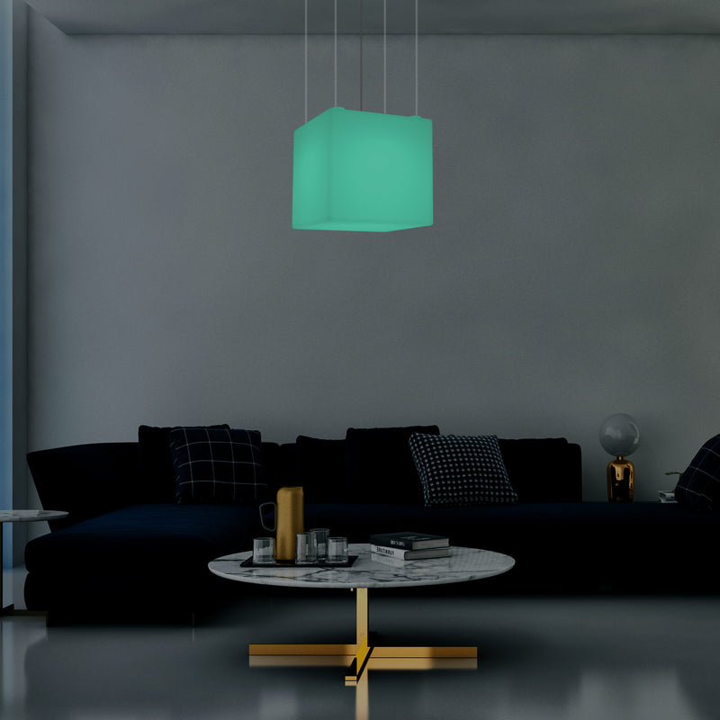 Cube LED, Lampe de suspension contemporaine, 40 cm, E27, avec changement de couleur