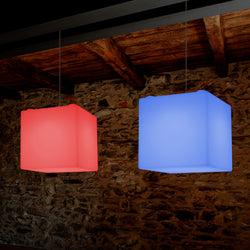 Plafonnier contemporain Lampe de suspension LED en forme de cube 300mm E27 changement de couleur RGB