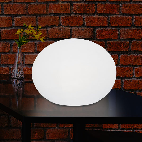 Lampe de table décorative LED E27 à intensité variable lampe de salon 3D ovale elliptique 27cm blanc