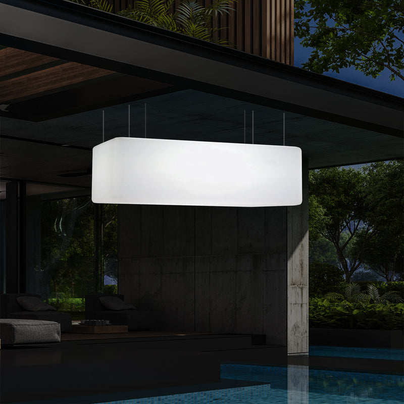 Suspension pour terrasse de jardin Plafonnier LED alimenté par le secteur rectangle 100 x 50cm, RGB