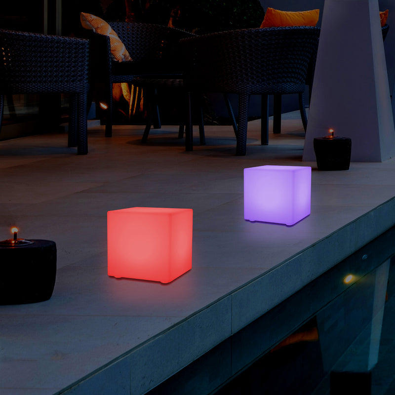Cube LED de 15 cm Lampe de chevet Lampe de nuit  Éclairage RGB centre de table moderne rechargeable