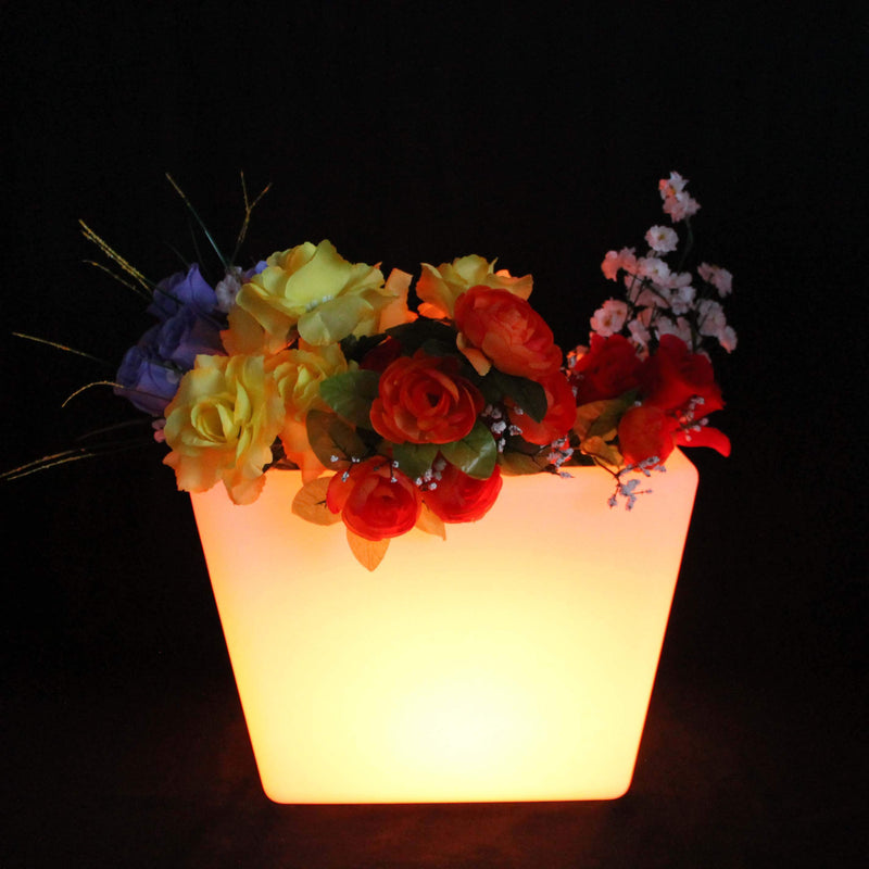 Vase LED Lumineux, Pot de Plante Multicolore Rechargeable, Lampe Table Design 27cm