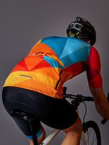 Jenson in our LÉGER Sunset BLVD. Cycling Kit Back View