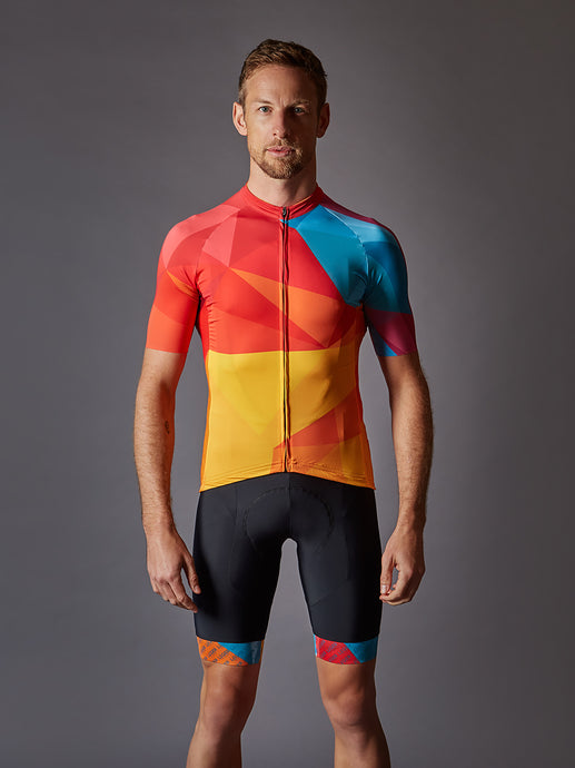 Jenson in our LÉGER Sunset BLVD. Cycling Kit
