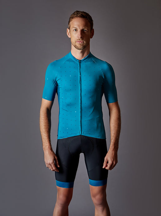 Jenson in our LÉGER Malibu Escape Cycling Kit in turquoise