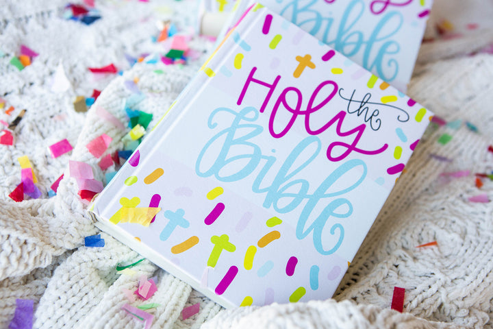 PRE-ORDER NON-PERSONALIZED All She Wrote Notes collab CONFETTI CROSS ESV Journaling Bible - Kingfolk Co