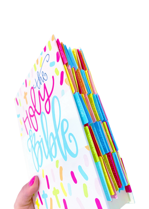 PRE-ORDER All She Wrote Notes collab CONFETTI CROSS ESV Journaling Bible + Bible Tabs - Kingfolk Co