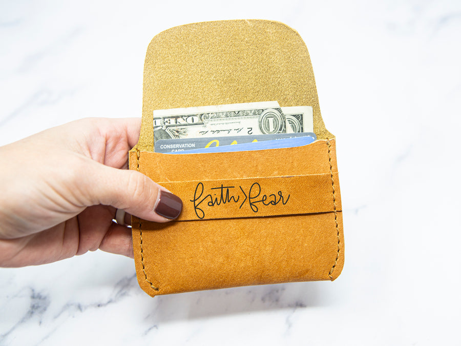 Faith>Fear Leather Wallet - Kingfolk Co