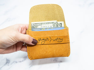 Prayer>Worry Leather Wallet - Kingfolk Co